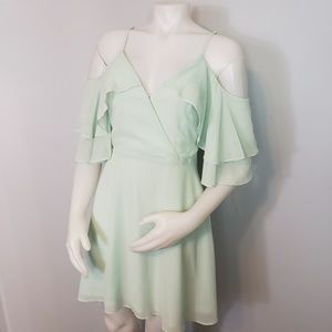Lulu's off the shoulder ruffled suplice dress mint